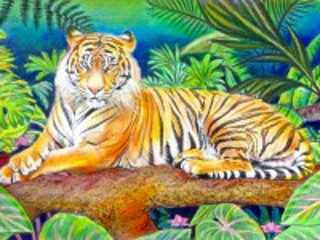 Собирать пазл Тигр на дереве онлайн