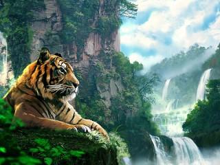 Собирать пазл Тигр у водопада онлайн