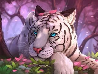 Собирать пазл Тигр в розовом лесу онлайн