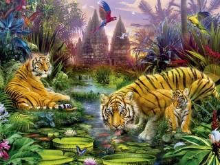 Собирать пазл Тигры на водопое онлайн