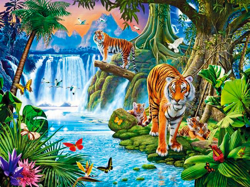 Пазл Собирать пазлы онлайн - Тигры у водоёма