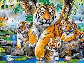 Собирать пазл Тигриная семейка онлайн