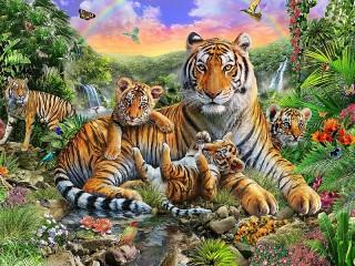 Собирать пазл Тигриное семейство онлайн