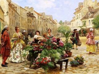 Собирать пазл Торговка-цветочница онлайн