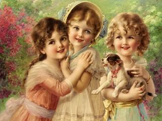 Собирать пазл Три красотки онлайн