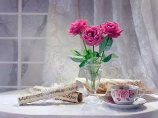 Собирать пазл Три розы онлайн