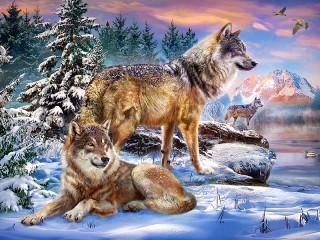 Собирать пазл Три волка онлайн