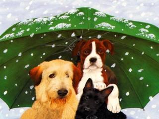 Собирать пазл Трое под зонтом онлайн