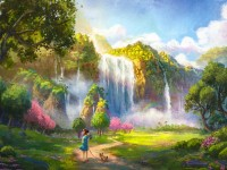 Собирать пазл Тропа к водопаду онлайн