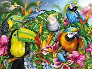 Собирать пазл Тропические птицы онлайн
