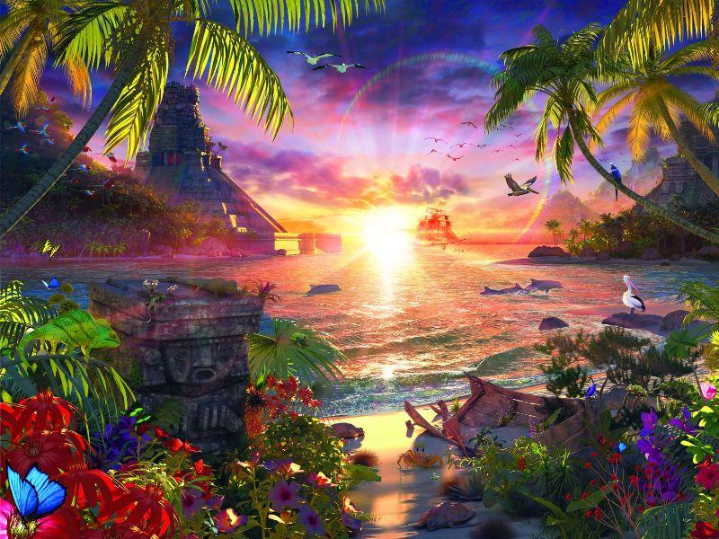 Пазл Собирать пазлы онлайн - Тропический остров