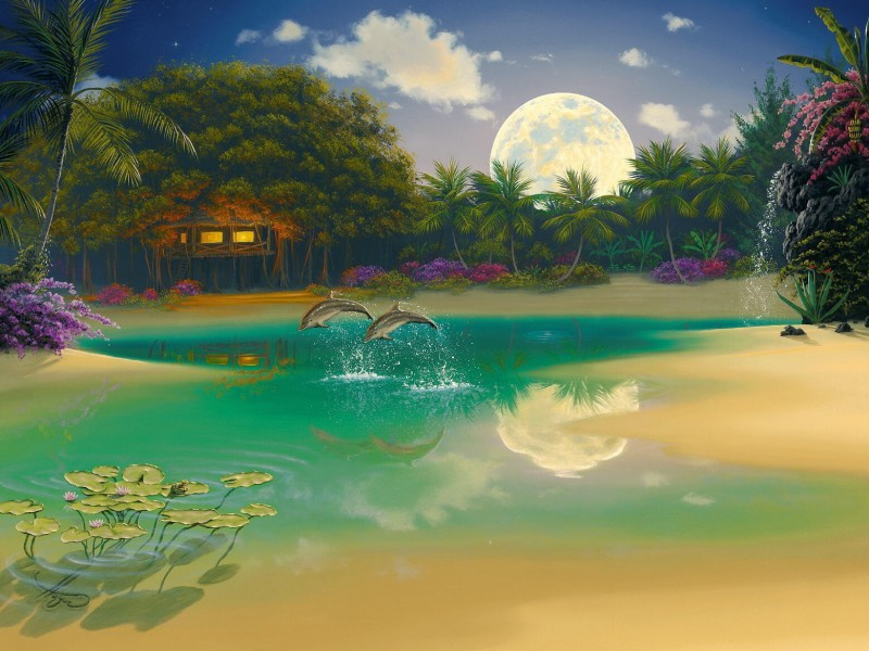 Пазл Собирать пазлы онлайн - Тропики Луна