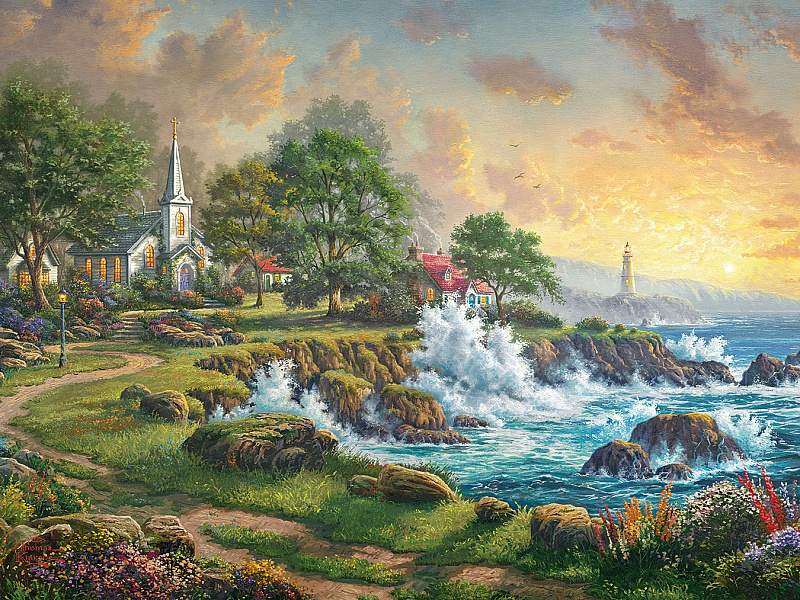 Пазл Собирать пазлы онлайн - Церковь у моря