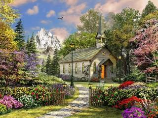Собирать пазл Церковь в горах онлайн