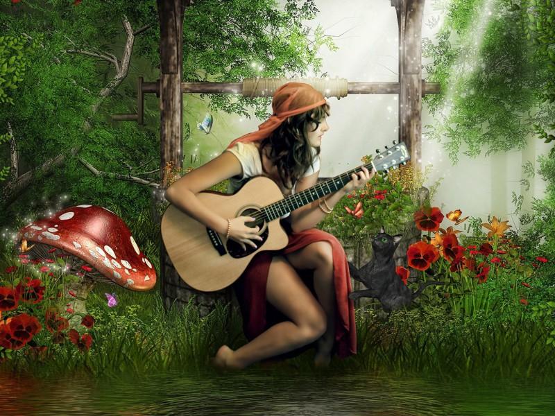 Пазл Собирать пазлы онлайн - Цыганка с гитарой