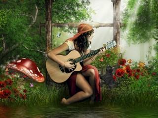 Собирать пазл Цыганка с гитарой онлайн