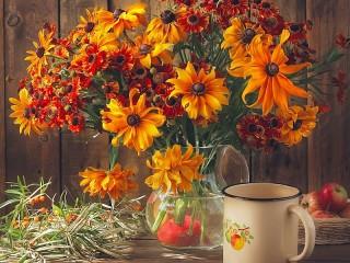 Собирать пазл Цветы в вазе онлайн