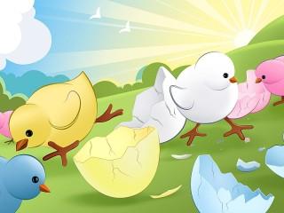 Собирать пазл Цыплята вылупились онлайн