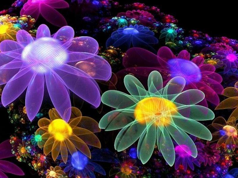 Пазл Собирать пазлы онлайн - Цветы фракталы