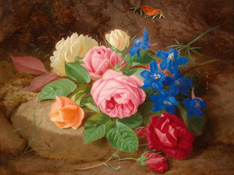 Пазл Собирать пазлы онлайн - Цветы и бабочка