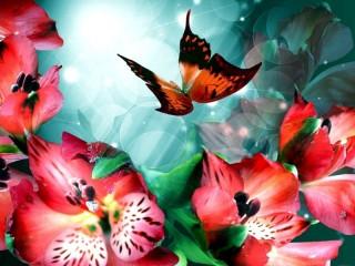 Собирать пазл Цветы и бабочка онлайн