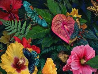 Собирать пазл Цветы и бабочки онлайн