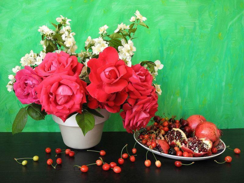 Пазл Собирать пазлы онлайн - Цветы и фрукты 1