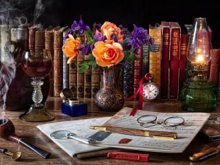 Собирать пазл Цветы и книги онлайн