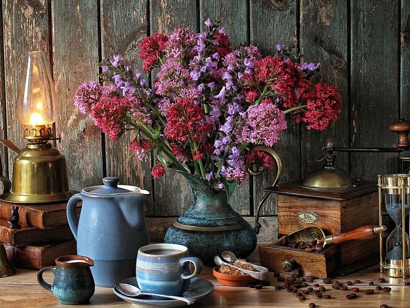 Пазл Собирать пазлы онлайн - Цветы и лампа