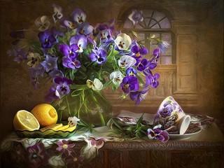 Собирать пазл Цветы и лимоны онлайн