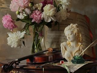 Собирать пазл Цветы и музыка онлайн
