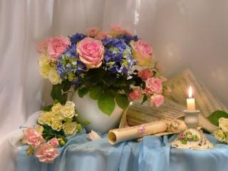 Собирать пазл Цветы и ноты онлайн
