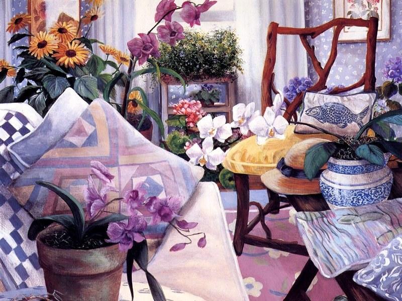 Пазл Собирать пазлы онлайн - Цветы и подушки