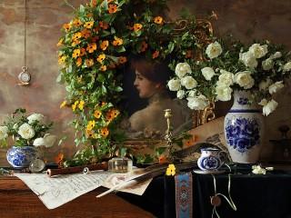 Собирать пазл Цветы и портрет онлайн