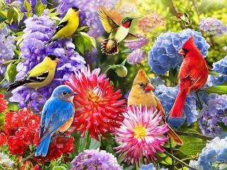 Собирать пазл Цветы и птицы онлайн