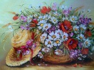 Собирать пазл Цветы и шляпа онлайн