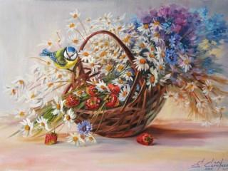 Собирать пазл Цветы и синичка онлайн