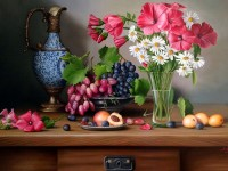 Собирать пазл Цветы и виноград онлайн