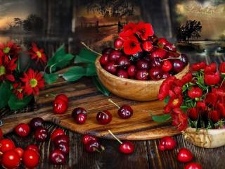 Собирать пазл Цветы и вишня онлайн