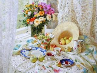 Собирать пазл Цветы и яблоки онлайн