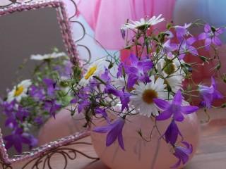 Собирать пазл Цветы и зеркало онлайн