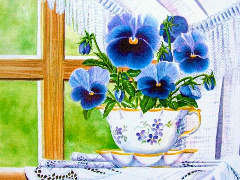 Пазл Собирать пазлы онлайн - Цветы на окне