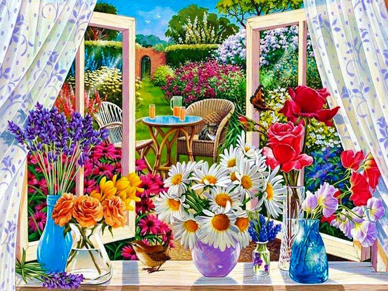 Пазл Собирать пазлы онлайн - Цветы на подоконнике