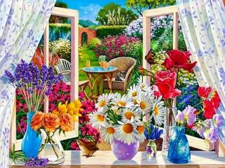 Собирать пазл Цветы на подоконнике онлайн