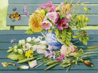 Собирать пазл Цветы на скамейке  онлайн