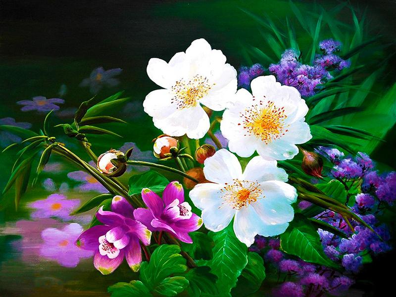 Пазл Собирать пазлы онлайн - Цветы над водой
