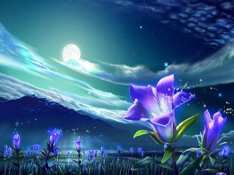 Пазл Собирать пазлы онлайн - Цветы под луной