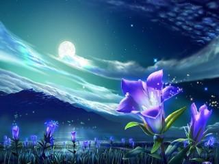 Собирать пазл Цветы под луной онлайн