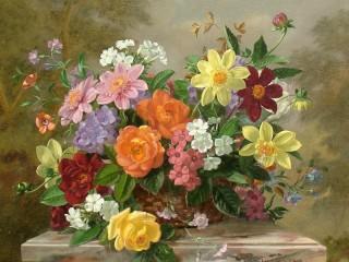 Собирать пазл Цветы в корзине онлайн