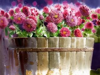 Собирать пазл Цветы в ведре онлайн